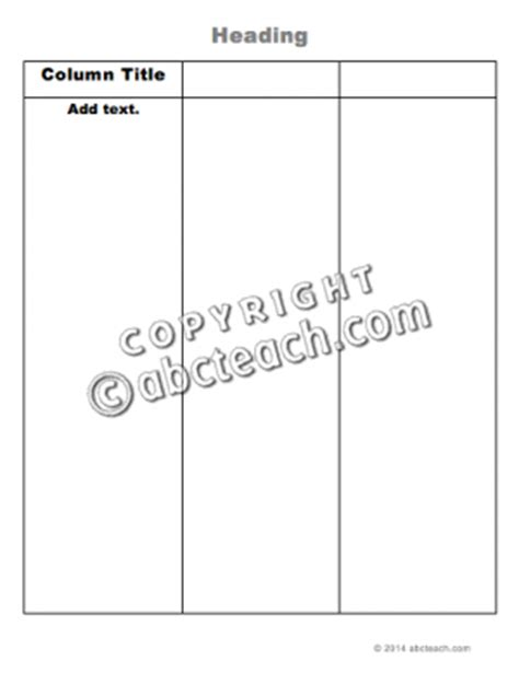3 column word template graphic organizer 3 column chart printable word