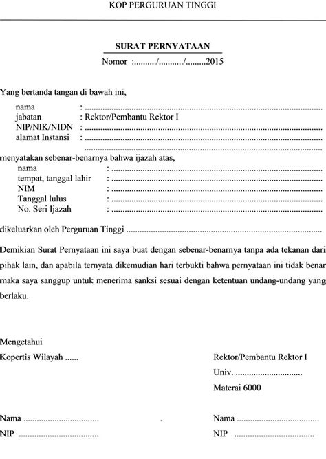 format surat pernyataan ipdn 2015 klarifikasi keabsahan ijasah peserta plpg 2015 program