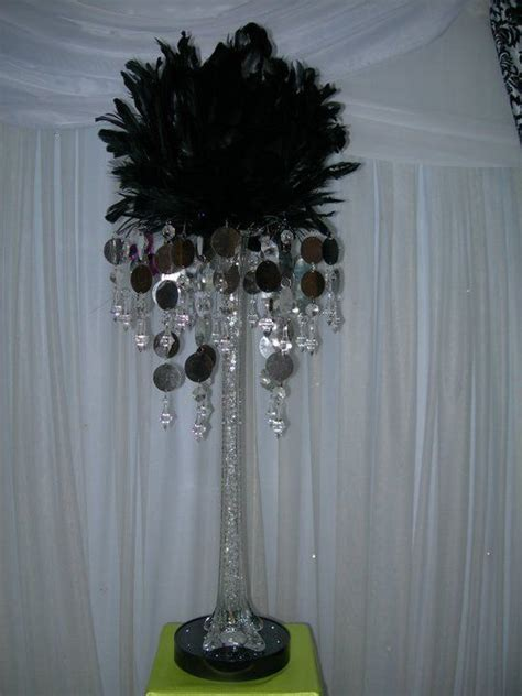 Feather Vases Weddings by Aglow Weddings Events Black Feather Centerpiece With Silver Gem Vase Topper Aglow