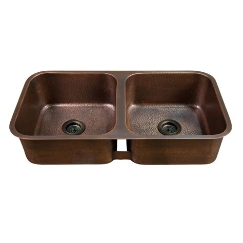copper kitchen sink 35 quot hammered copper double bowl undermount sink copper