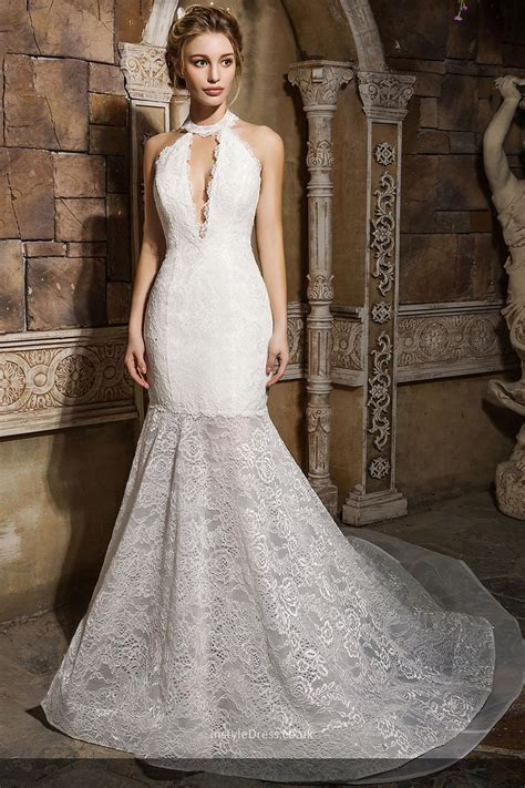 Plus Size Lace Wedding Dresses With Cathedral by Plunging Low Back Slim Bodice Lace Dresses With