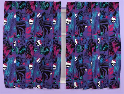 monster high curtains monster high beasties kids curtains 66 quot x 54 quot or 66 quot x 72
