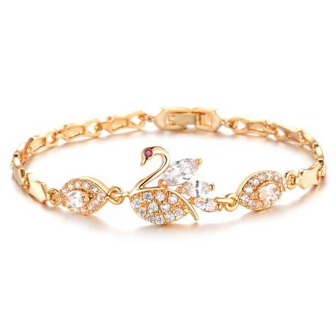 Accessories Gold Bracelet beautiful swan bracelet gold plated