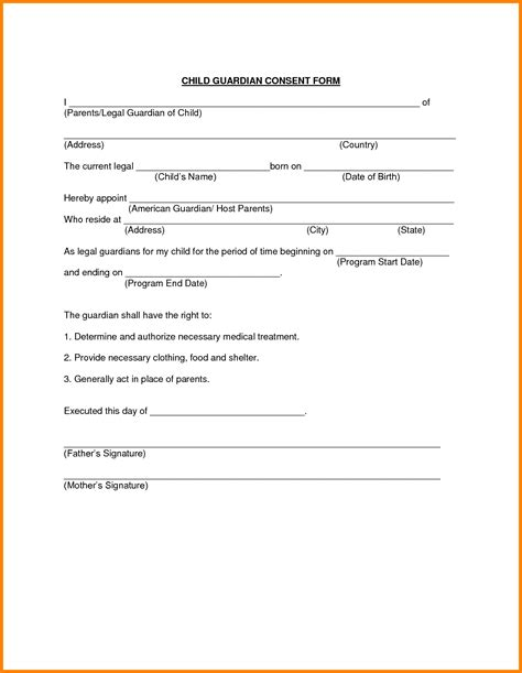 Authorization Letter Guardian 10 Consent Form For Travel With Child Ledger Paper