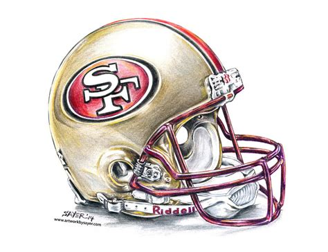 49ers Sketches by San Francisco 49ers Helmet Drawing By Sayer