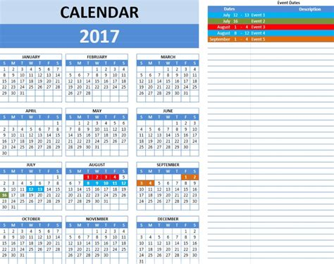 Meeting Calendar Template 2017