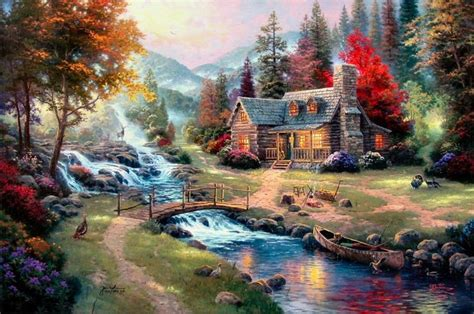 Home Interiors Kinkade Prints Kinkade Painting Mountain Paradise On