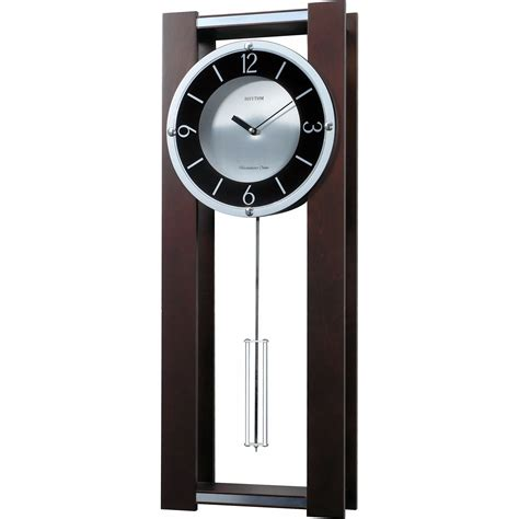 modern pendulum wall clock in rich espresso plays 18 - Modern Pendulum Wall Clock