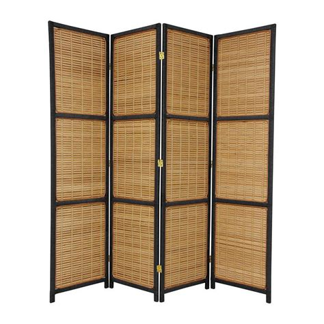Shop Oriental Furniture Room Dividers 4 Panel Black Room Dividers Screens