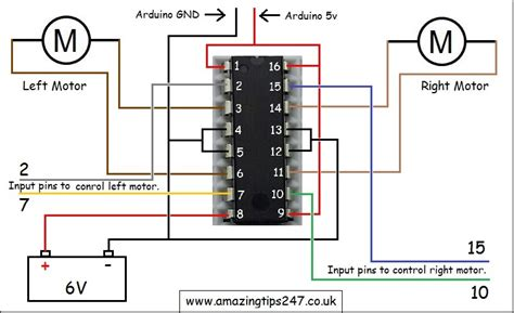 circuit diagram of l293d motor driver and how to wire it