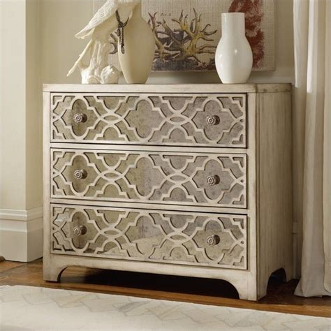 Accent Dresser by Furniture Sanctuary Fretwork Accent Chest In Pearl