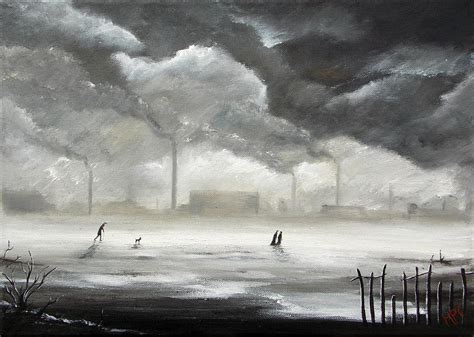 Curtains 120 Northern Industrial Landscape Painting By M P Elliott