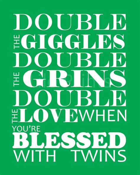 printable twin quotes custom double the grins with twins nursery art print