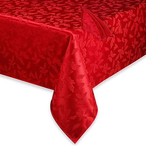 Lenox® Holly Damask Red Tablecloth and Napkin   Bed Bath