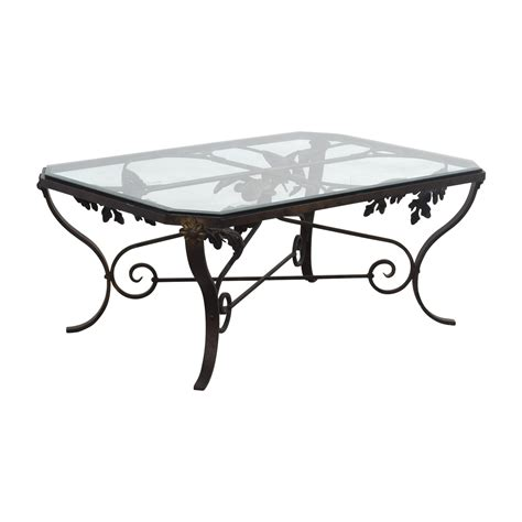 84 Scroll Metal And Glass Top Dining Table Tables 67 Glass And Metal Leaf Scroll Coffee Table Tables