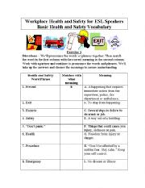 Health And Safety Worksheets For Students by Basic Health And Safety Vocabulary For Students