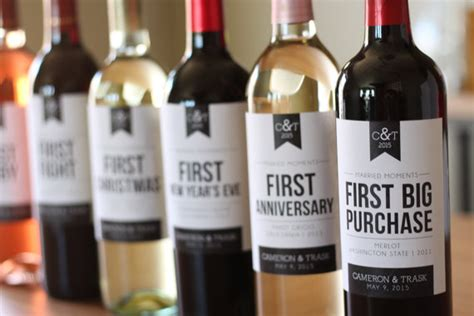 6 custom wine labels for first married moments