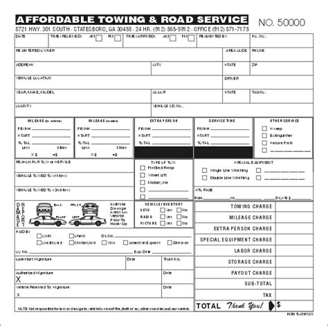 Towing Receipt Template by Towing Invoice Forms Studio Design Gallery Best Design