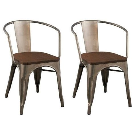 Metal And Wood Dining Chairs Carlisle Wood Seat Dining Chair Metal Set Of 2 Ebay