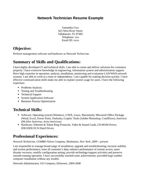 professional network technician resume template