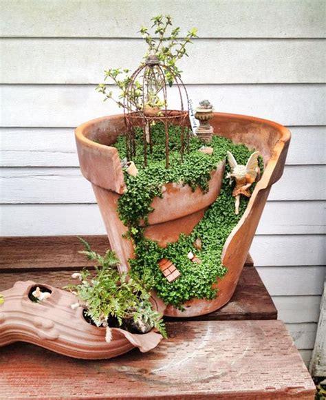 Broken Pot Garden by Diy Gardens Made From Broken Pots
