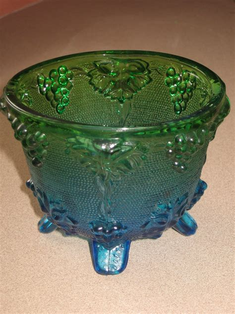 jeanette grape vine footed candy dish  lid blue  ninadano