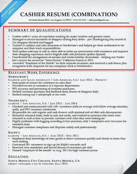 Resume Summary Exle Cashier How To Write A Summary Of Qualifications Resume Companion