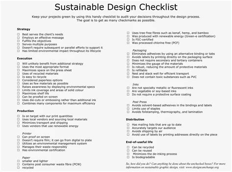 design for environment checklist michellecarroll certiiigpp august 2014