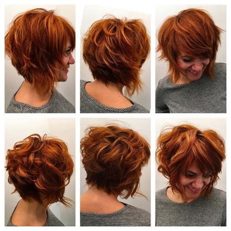 women s strawberry blonde shag with undone textured waves women s stacked angled bob with undone shaggy texture and