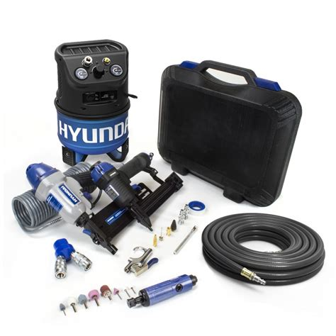 hyundai hyundai 2 gal portable electric air compressor with 7 tool diy kit the home depot canada