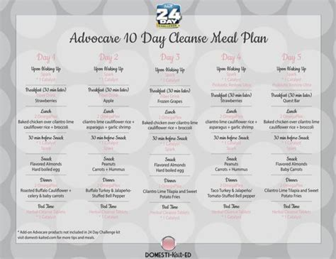 Carb Detox Meal Plan by Advocare 10 Day Cleanse Meal Plan A Meal Plan For The