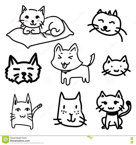 doodle cat drawing cat doodle drawing a vector on white background stock