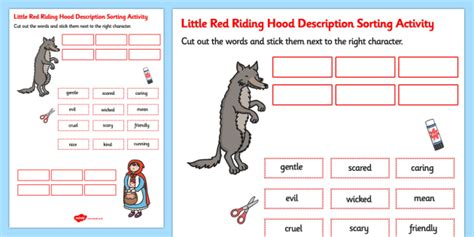 hoods haircutgame red riding hood cut stick character description sorting