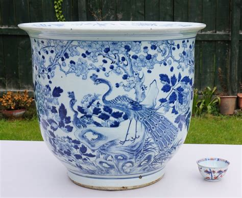 Huge 19thc Antique Chinese Blue And White Porcelain Vase Blue And White Planters