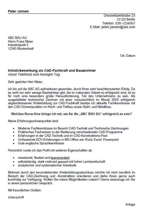 Initiativbewerbung Anschreiben Technischer Zeichner Bewerbung Technischer Zeichner Berufseinsteiger Sofort