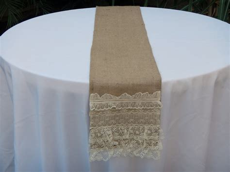burlap table runner with layers of lace boho chic ready