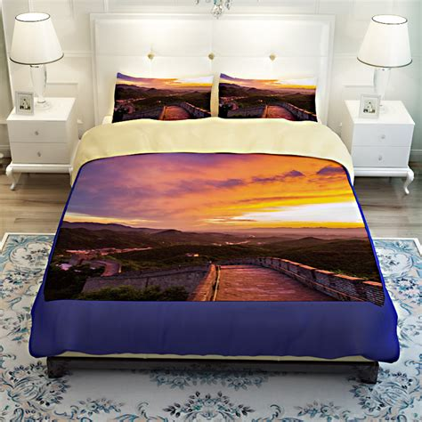 V Bed Bed Cover Set 120x200x30 No 3 Single Size Valen Diskon china landscape scenery great wall 3d bedding set quilt cover bed sheets king size