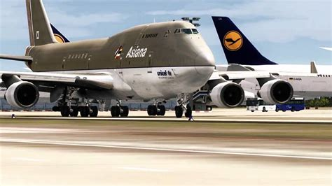arrival and departure eddf boeing 747 bdsf air cargo asiana cargo fs2004