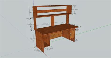 desain meja dengan sketchup desain meja komputer render dan hasil jadinya