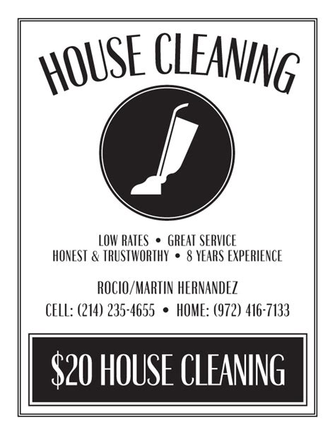 templates for house cleaning flyers 8 best images of free printable house cleaning flyers