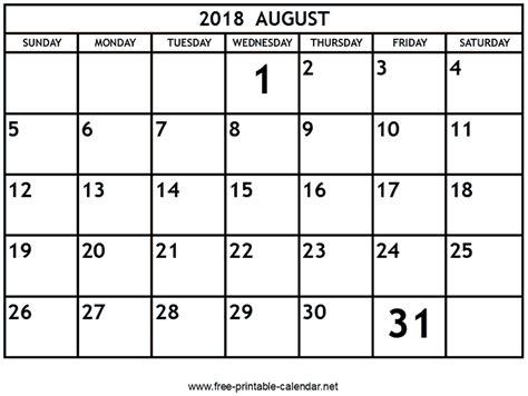 printable calendar august 2018 printable august 2018 calendar download print