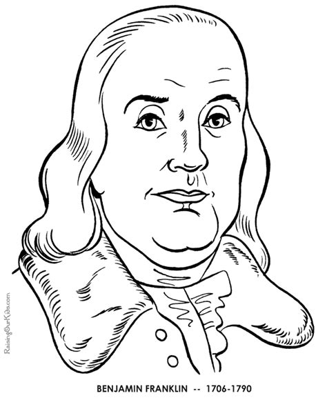 Benjamin Franklin Coloring Page ben franklin coloring page coloring home