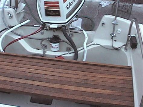 boat stern bench seat classic whaler montauk 17 stern teak bench the hull