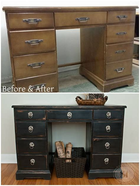 Distressed Desk Furniture by Before And After Desk Distressed Using 100 Beeswax Easy