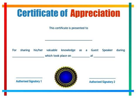50 Professional Free Certificate Of Appreciation Templates For Every Need Demplates Certificate Of Appreciation For Speakers Template