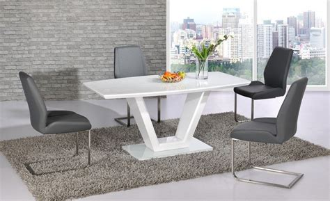 White Dining Table Grey Chairs White High Gloss Dining Table And 4 Grey Chairs Homegenies