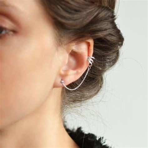 ear stud sterling silver ear cuff and stud earrings martha
