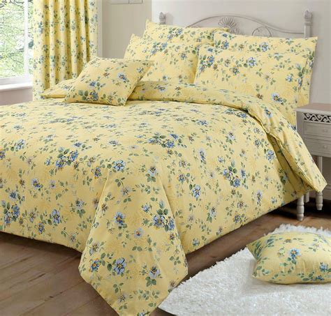 lemon yellow pretty floral design reversible bedding duvet