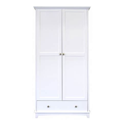 White Wooden Wardrobes by Tornado Wooden Wardrobe In White With 2 Doors 1 Drawer