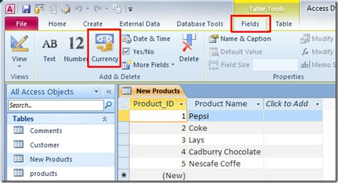 format date field in access query access 2010 add field for currency number format